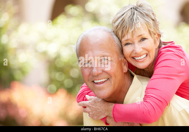 Senior Couple Having Fun In City - Stock Image