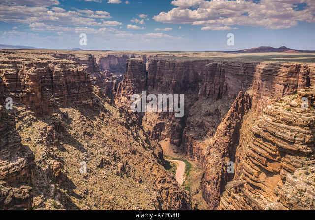 Colorado River Carving Through the Grand Canyon on a sunny summer day - Stock Image
