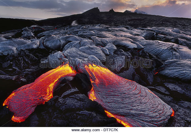 Flowing lava Hawaii Volcanoes National Park Hawaii Hawaii Volcanoes National Park Hawaii - Stock Image