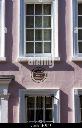 Leigh Hunt's House and LCC Plaque, London - Stock Image