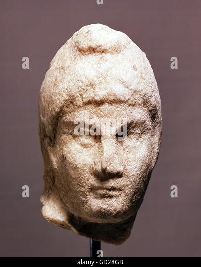 fine arts, ancient world, Roman Empire, sculpture, little head of a Mithras relief, 1st - 4th century AD, located - Stock-Bilder