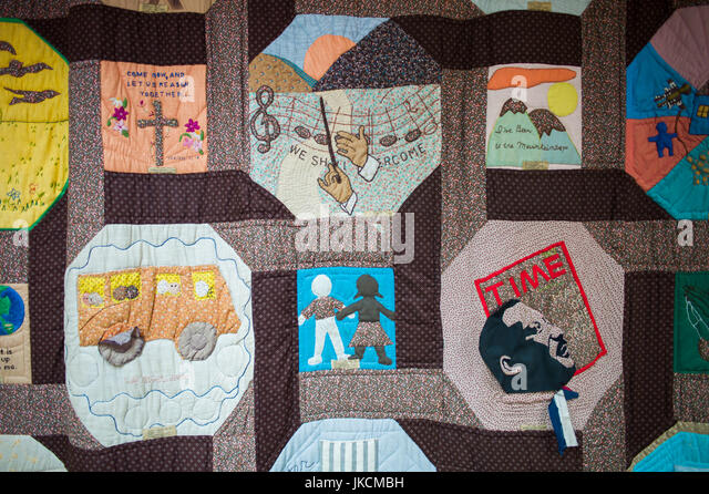 USA, Georgia, Atlanta, Martin Luther King National Historic Site, King Center for non-Violent Social Change, quilt - Stock Image