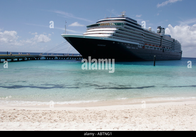 Grand Turk Cockburn Town Holland America Line ms Noordam Cruise Ship Center Beach - Stock Image