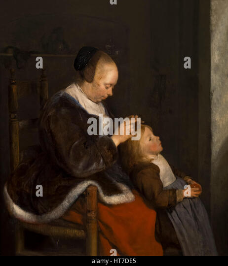 Mother Combing Her Child's Hair, Hunting for Lice, by Gerard ter Borch the Younger,  circa 1652,  Art Gallery, - Stock Image