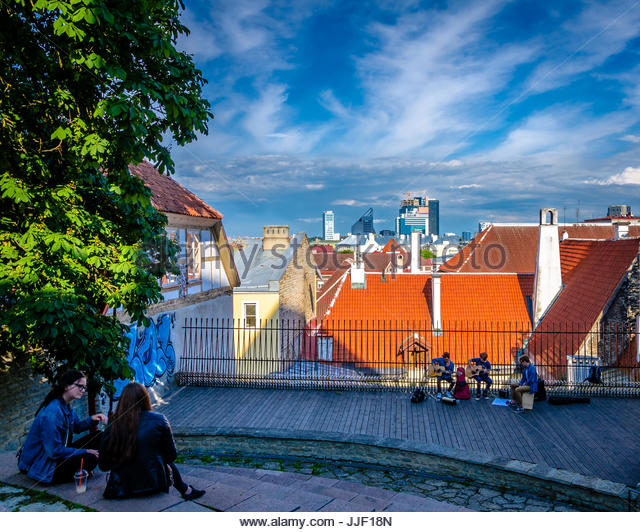 Tallinn, Estonia, City view from a hill - Stock Image