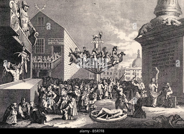An Emblematical Print on the South Sea Bubble by William Hogarth - Stock Image