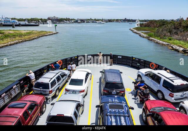 North Carolina NC Outer Banks Ocracoke Island ferry boat harbor arriving cars vehicles - Stock Image