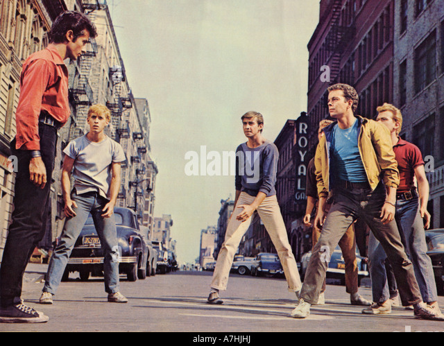 WEST SIDE STORY 1961 UA film with George Chakiris at left - Stock Image
