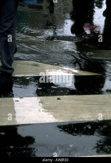 Pool of water on cross walk - Stock Image