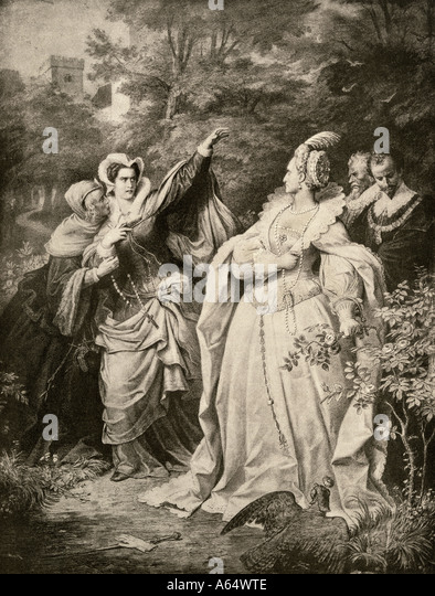 Mary Queen of Scots defying Elizabeth I - Stock Image