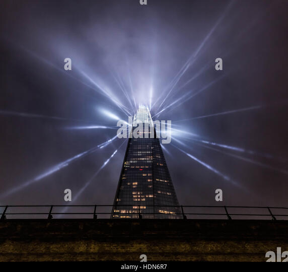 London, UK. 13th December, 2016. The Shard Christmas Lights. The installation, described as the capital's highest - Stock Image