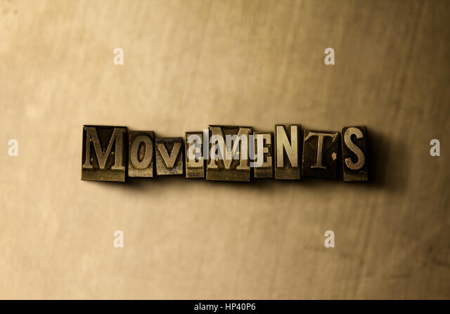 MOVEMENTS - close-up of grungy vintage typeset word on metal backdrop. Royalty free stock illustration.  Can be - Stock Image