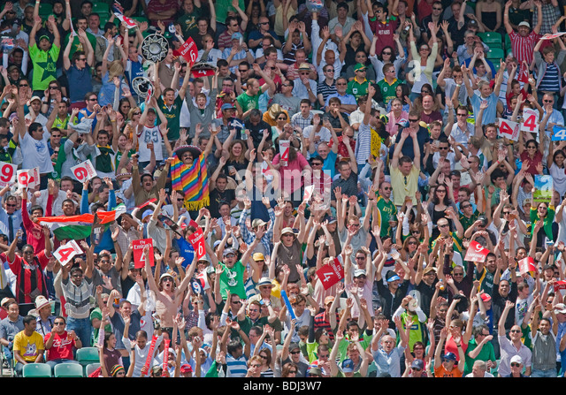A Mexican wave With A Mexican man, A crowd of cricket supporters at the world 20twenty tournament at the Oval in - Stock Image
