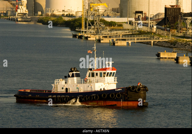 Tampa Bay Florida  Port of Tampa tug boat open space text space copy space type space - Stock Image