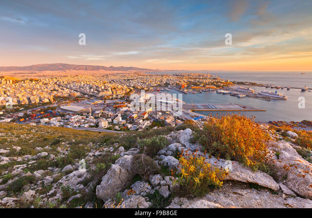 View of Piraeus harbour in Athens from the foothills of Aegaleo mountains - Stock Image