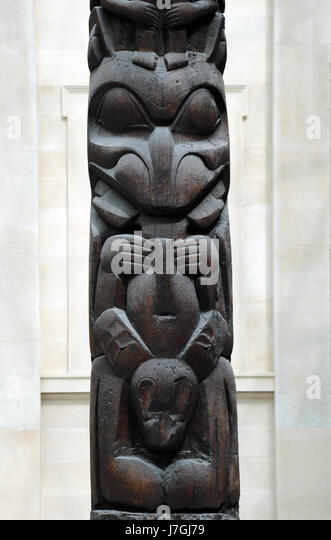 House frontal pole, Haida. British Columbia, Canada. About 1850, red cedar wood. British Museum. London. United - Stock Image