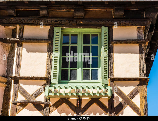 Abstract of an old building front in Brittany, France - Stock Image