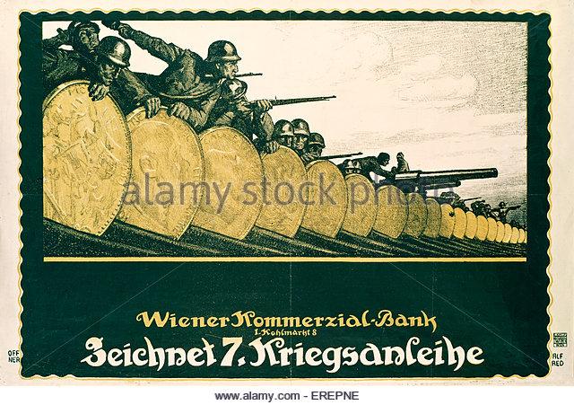 World War 1 poster - Austrian. Encouraging the purchase of war bonds. Caption reads: Wiener Kommerzial Bank. Zeichnet - Stock Image