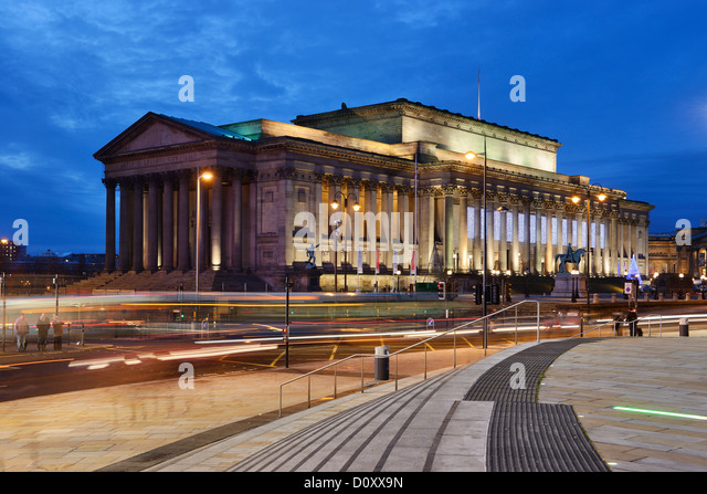 St Georges Hall lit up at night Liverpool - Stock Image