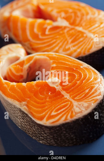 raw salmon steaks - Stock Image