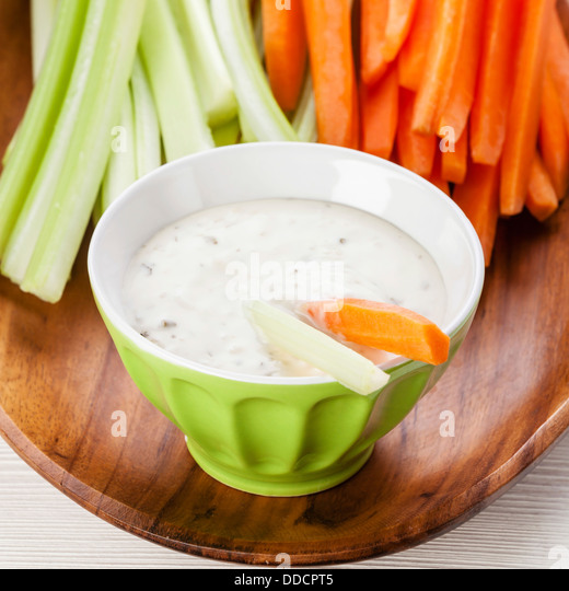 Snack with Assorted fresh vegetables and yoghurt - Stock Image