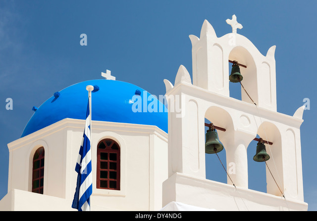 Blue domed church at Oia Santorini Greece Europe - Stock Image