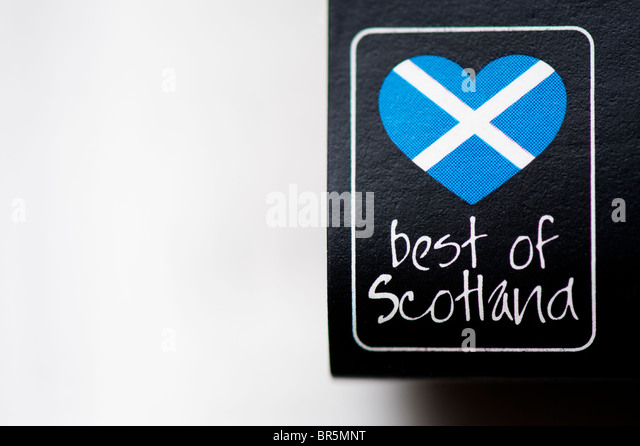 'Best of Scotland' food label in the shape of a heart shaped scottish flag - Stock Image