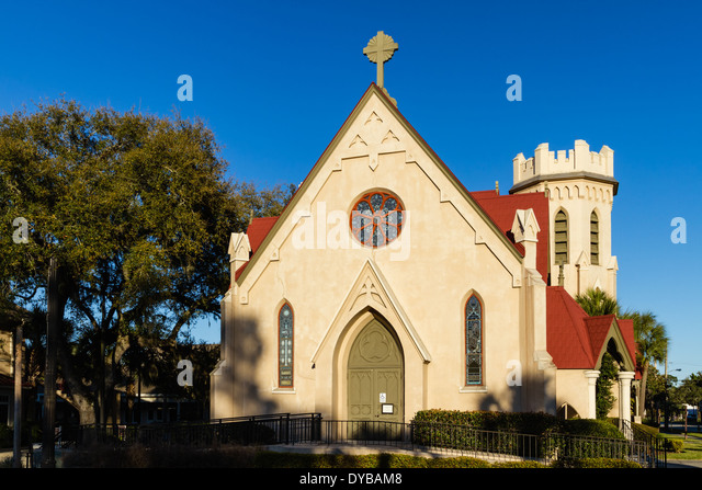 Historic St. Peter's Episcopal Church in Fernandina Beach on Amelia Island in Florida. - Stock Image