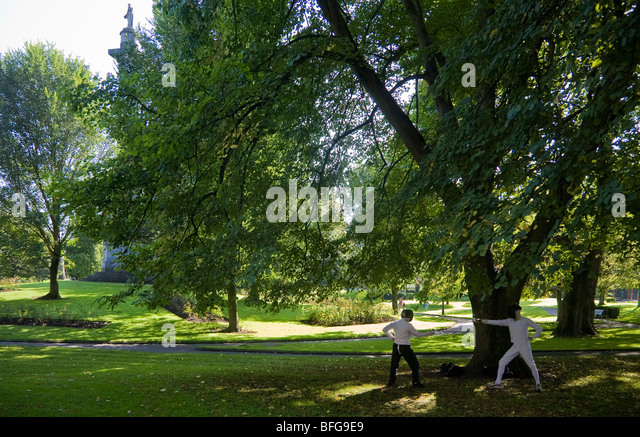 Fencing Practice in the People's Park, Limerick City, Ireland - Stock Image