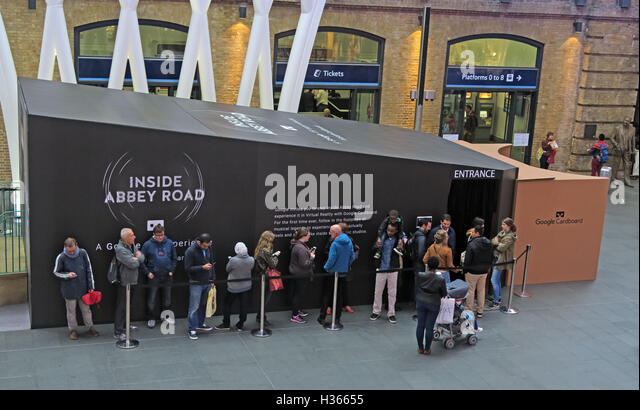 Google Cardboard promote the Daydream Inside Abbey Road App at Kings Cross Station, London - Stock Image