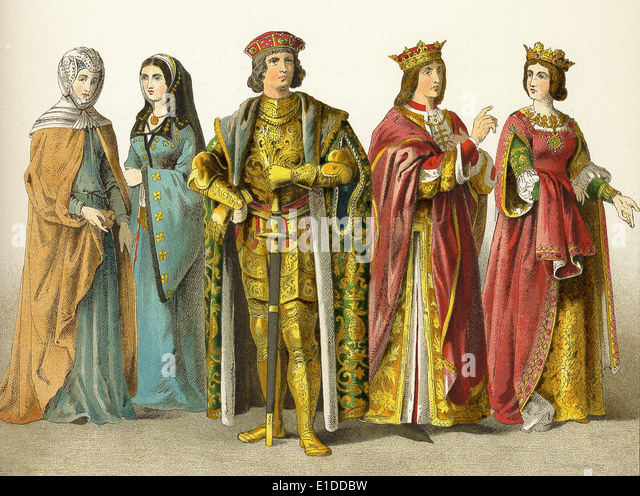 Spanish nobility and royalty in the 1400s: two ladies of rank, count, King Ferdinand, and Queen Isabelle. - Stock Image