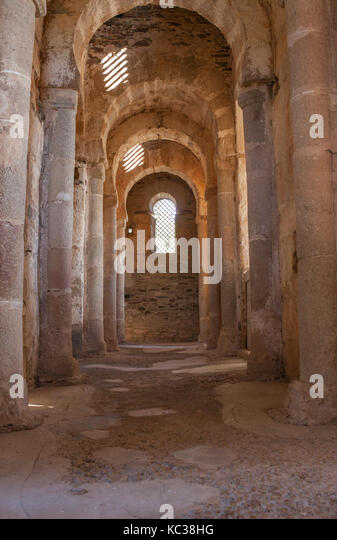 Alcuescar, Spain - September 17, 2017: Visigothic Basilica of Santa Lucia del Trampal. Transept view - Stock Image