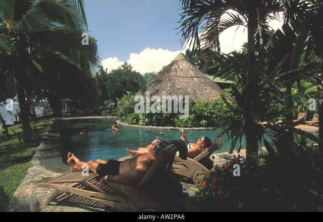 costa rica swimming pool tortuguero tortuga jungle lodge - Stock Image