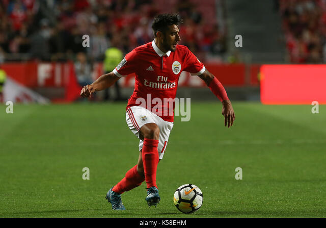 Benfica«s forward Toto Salvio from Argentina during the Premier League 2017/18 match between SL Benfica v Portimonense - Stock Image