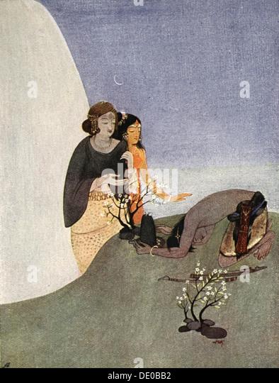 Kirat-Arjuna, 1913.  Artist: Nandalal Bose - Stock Image