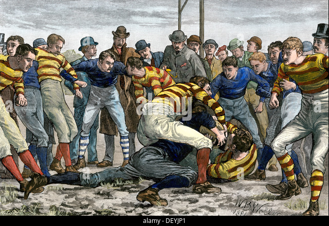 Scoring a goal in English football, 1880s. - Stock Image