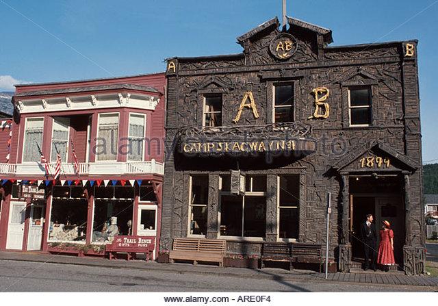 Alaska Skagway Broadway Artic Brotherhood Hallieces of driftwood historic gold rush town - Stock Image