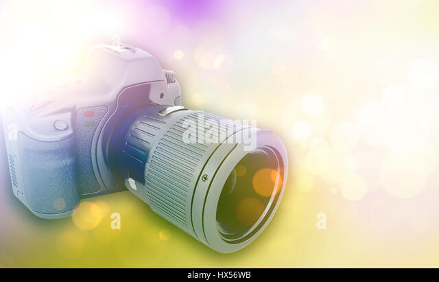 3D render of a camera with vintage retro effect - Stock Image