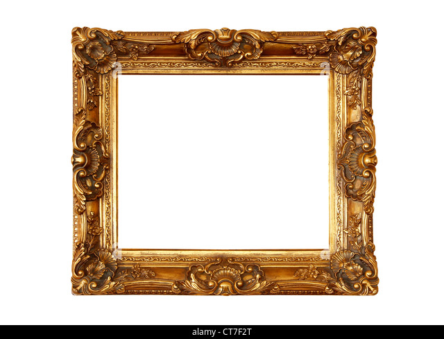 Vintage wooden picture frame isolated on white background - Stock-Bilder