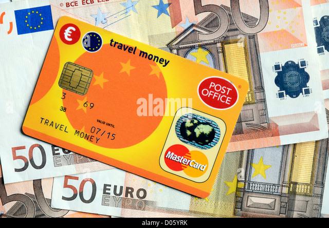 A post office  travel money card and euros - Stock-Bilder