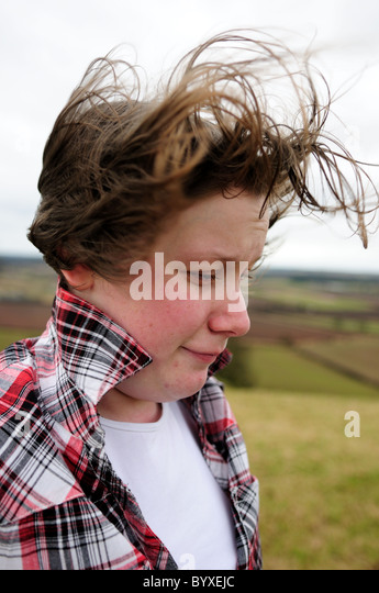 Teenager Girl Windy Day Blowing Hair. - Stock-Bilder
