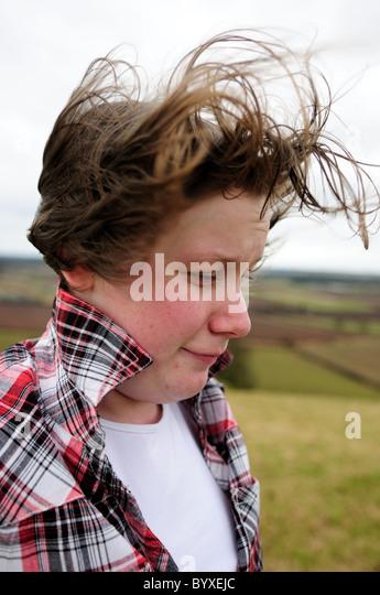 Teenager Girl Windy Day Blowing Hair. - Stock-Bilder