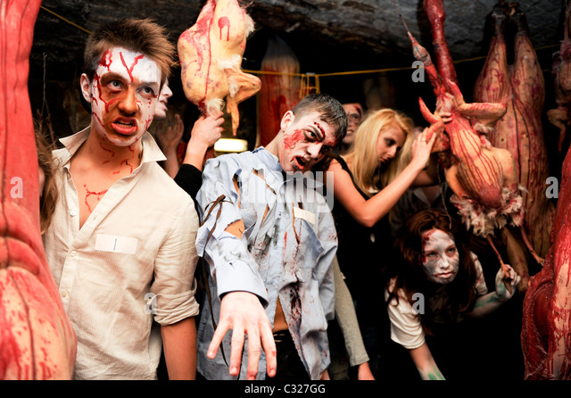 Zombie auditions were held at the 'London Tombs' to find the best actor suitable for the £30,000 a - Stock Image