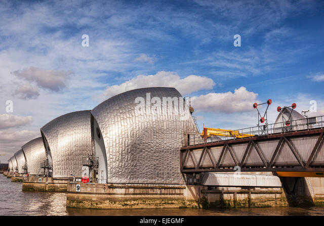 Thames Barrier, London, England. - Stock Image