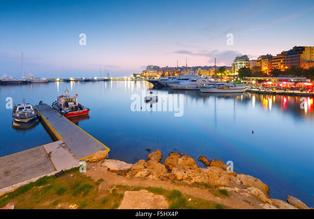 Evening view of Zea Marina in Athens, Greece - Stock Image