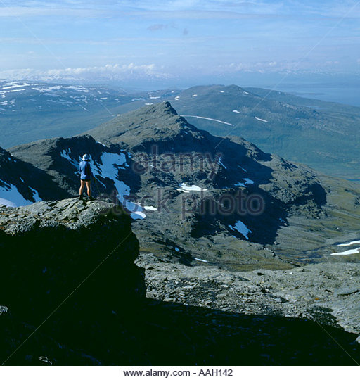 View over mountains of Padjelanta National Park from the ridge of Jeknaffo [1836m], Lappland, Norrbottens Län, - Stock Image