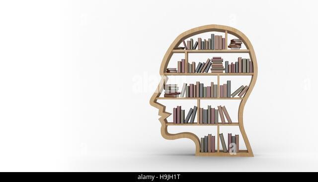 Books arranged in human face shape bookshelves - Stock Image