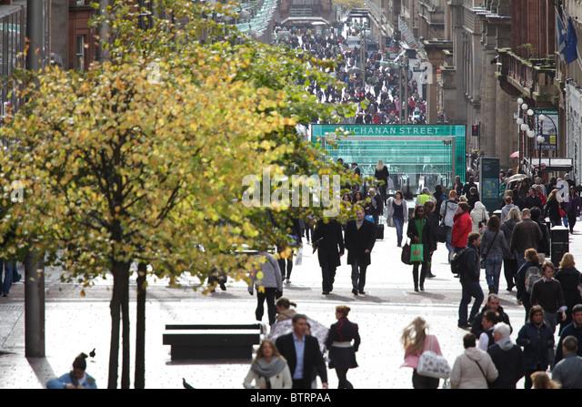 Pedestrians walking on Buchanan Street in autumn, Glasgow, Scotland, UK - Stock Image