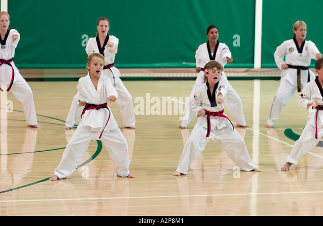 A group of students present their form routines during Tae Kwon Do black belt testing - Stock Image