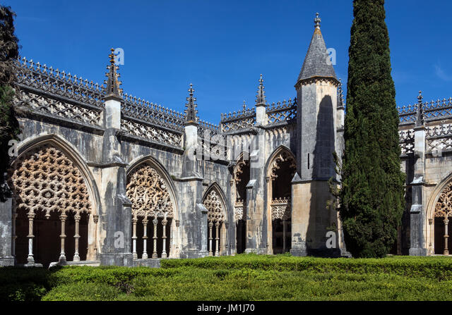 Cloisters in the Monastery of Batalha - a Dominican convent in the town of Batalha, in the Centro Region of Portugal. - Stock Image